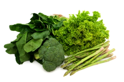 Eat your greens ~ spinach, broccoli, curly lettuce and asparagus.  Healthy eating.